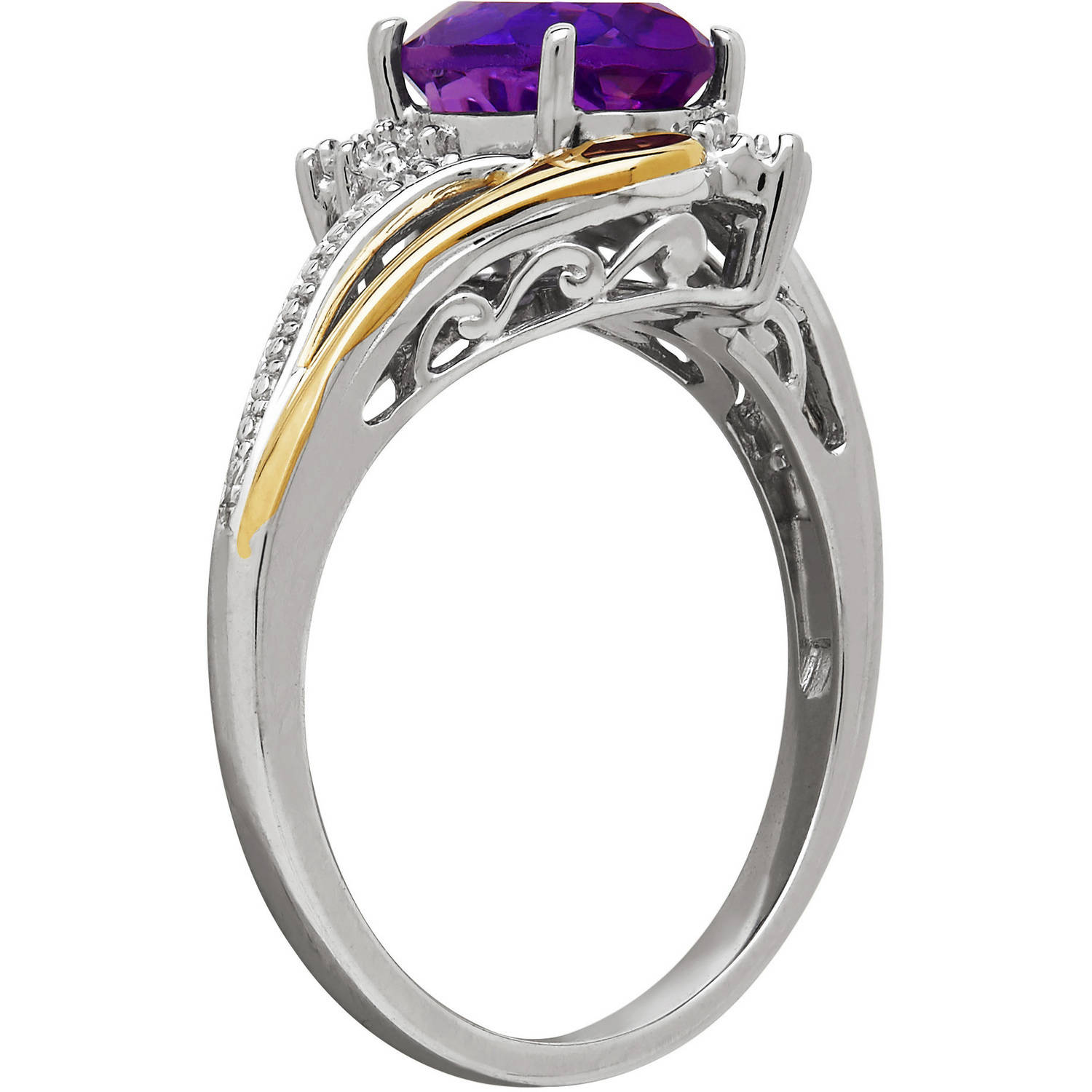 Duet Sterling Silver With 10kt Yellow Gold Oval Amethyst And Diamond Accent  Ring  Walmart