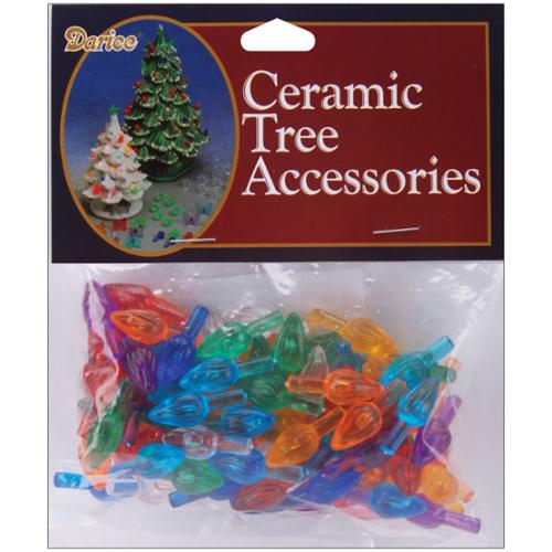 "Ceramic Christmas Tree Bulb .625"" 100/Pkg-Flame-Multi"