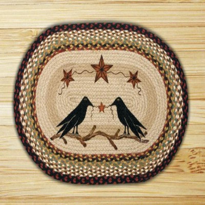 "Earth Rugs OP-019 Crow and Barn Star Design Braided Rug, 20 x 30"", Burgundy/Mustard"