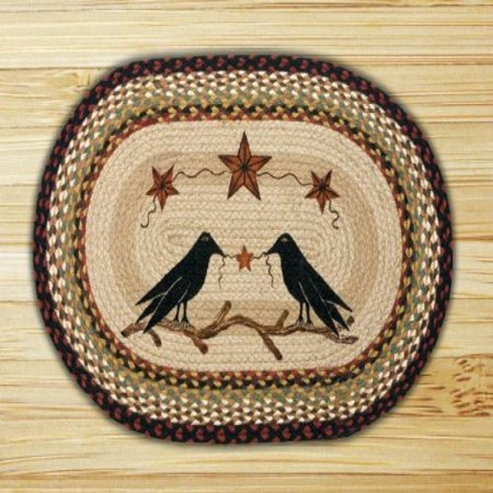 "Earth Rugs OP-019 Crow and Barn Star Design Braided Rug, 20 x 30"", Burgundy/Mustard"