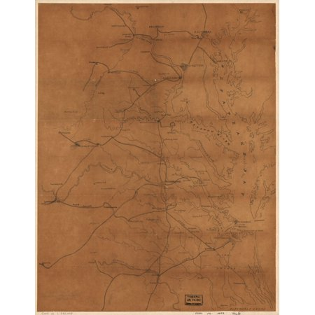 LAMINATED POSTER24x36 Map of eastern Virginia and parts of Maryland and northern North Carolina showing railroads and principal cities and