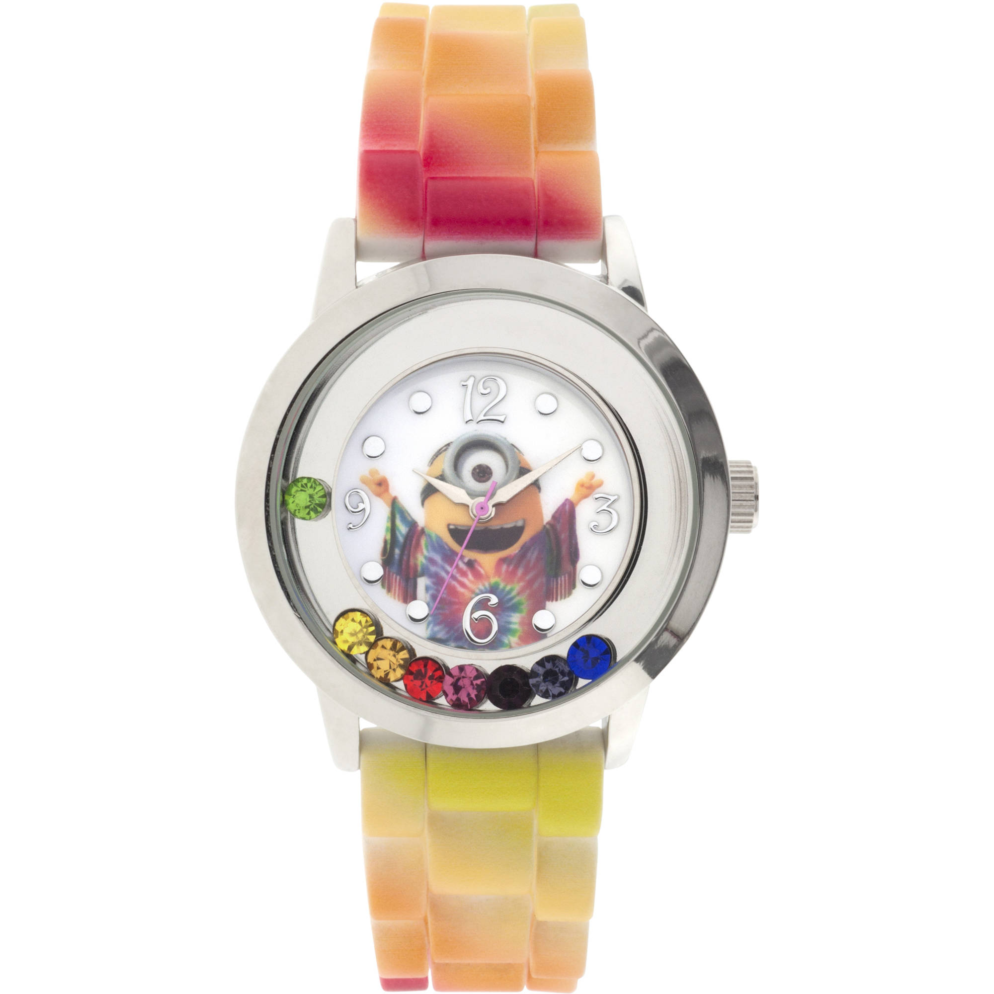 Minions Silver Case Character-Printed Dial Analog Watch, Colored Stones on Dial, Colorful Strap