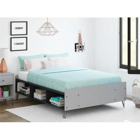 Ameriwood Novogratz Owen Full Bed, Dove Gray Black 60 X 30 Platform