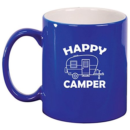 Ceramic Coffee Tea Mug Happy Camper (Blue)