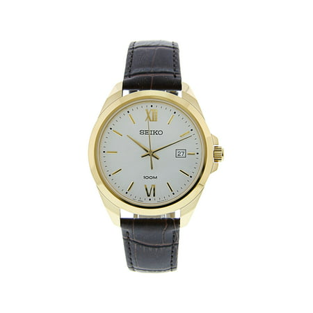 Seiko SUR284 Gold Leather Japanese Quartz Dress Watch