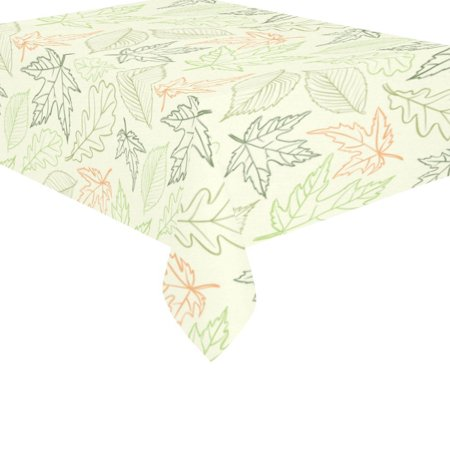 MYPOP Thanksgiving Maple Leaves Cotton Linen Tablecloth Set 60x84 Inches - Autumn Yellow Leaf Desk Table Cloth Cover for Wedding Holiday Party Decoration
