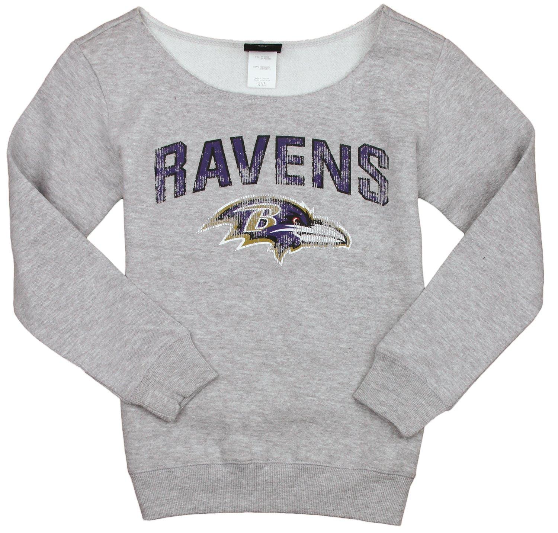NFL Football Youth Girl's Baltimore Ravens Finals Scoop Neck Crew Sweatshirt, Grey