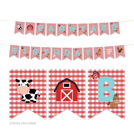 Barnyard Banners - Red Farmhouse Barnyard Birthday, Hanging Pennant Party Banner with String, Barnyard Party, 5-Feet, 1 Set