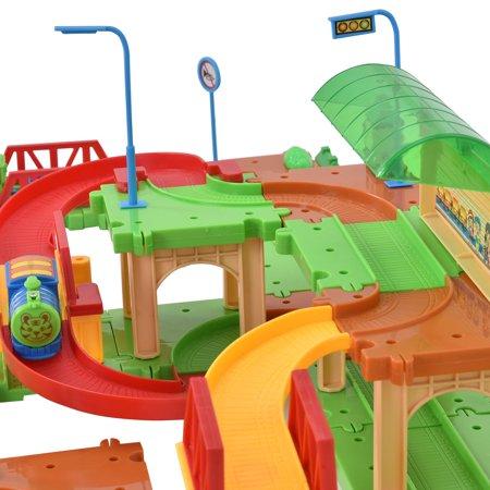 Costway 77PCS B/O Kids Child Plastic Brick Toys Electronic Building Blocks Railway Train - image 7 de 9