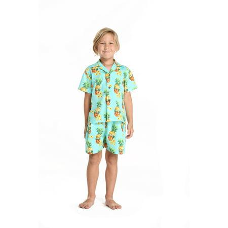 Hangover Halloween (Hawaii Hangover Boy Young Adult Aloha Luau Shirt in Halloween Pineapple Skull with Sunglasses 10 Year)