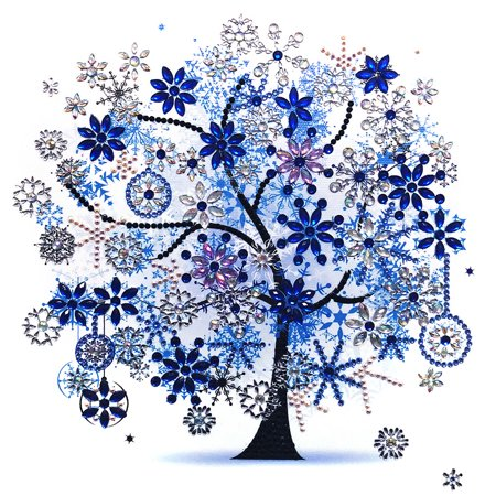 DIY Diamond Painting Cross Stitch Four Season Tree Shiny Colorful Embroidery Round 5D Diamond 30*30cm