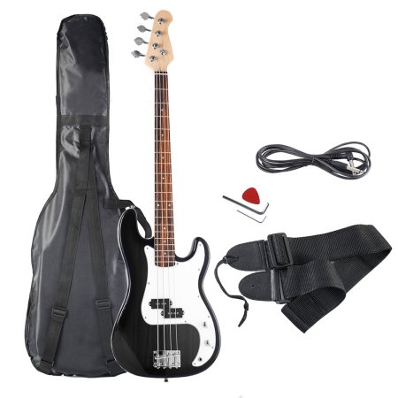 Costway Black Full Size 4 String Electric Bass Guitar with Strap Guitar Bag Amp Cord