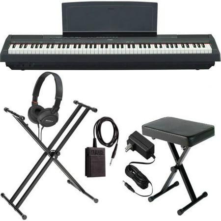 Yamaha P-125 Black 88-Key Digital Piano BUNDLE W/ Stand, Bench, and More ()