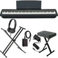 Yamaha P-125 Black 88-Key Digital Piano BUNDLE W/ Stand, Bench, and More