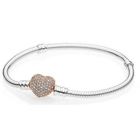 Sterling Silver Bracelet, Rose Pav?? Heart Clasp 586292CZ-18 cm 7.1