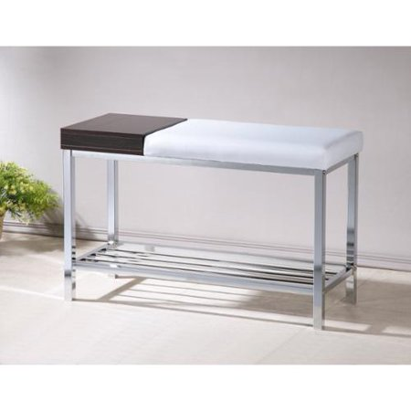 Oh White Bonded Leather Chrome Shoe Storage Bench