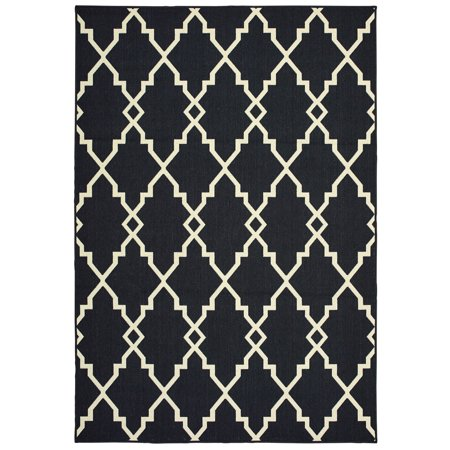 Diagonal Accent - Moretti Parker Area Rugs - 7763K Contemporary Black Diagonal Jagged Lines Angled Rug
