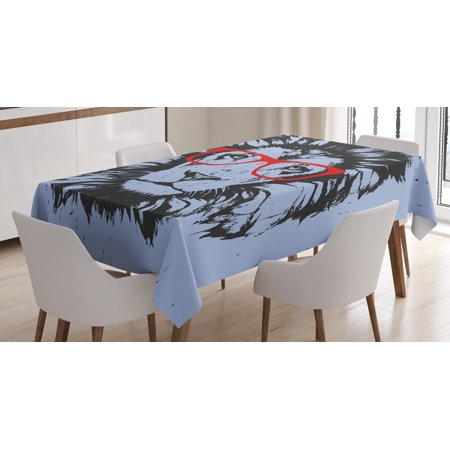 Animal Tablecloth, Grunge Lion Portrait with Hipster Glasses Nerd Humor Comic King Illustration, Rectangular Table Cover for Dining Room Kitchen, 60 X 84 Inches, Blue Black Red, by Ambesonne - Lion King Table Cover