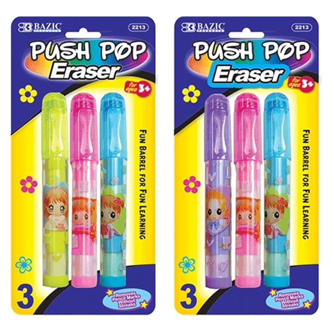 Bazic Products 2213-24 BAZIC Fancy Push-Pop Pencil Eraser - 3-Pack Case of 24