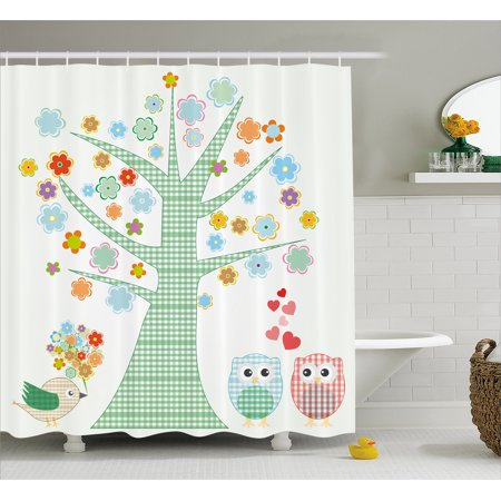 Nursery Shower Curtain, Romantic Owls In Love and Big Tree with Colorful Blossoms Bird Bouquet, Fabric Bathroom Set with Hooks, 69W X 75L Inches Long, Mint Green Multicolor, by Ambesonne