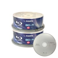 50 Pack Ridata 4X BD-R BDR 25GB Single Layer Blue Blu-ray Logo Recordable Blank Media Disc with Spindle Packing