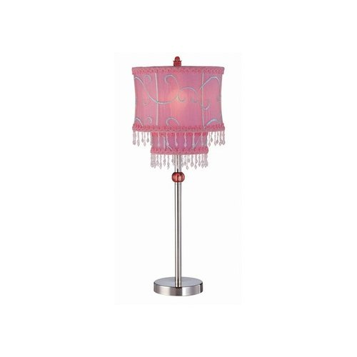 Lite Source Sandy  Pink Table Lamp in Polished Steel
