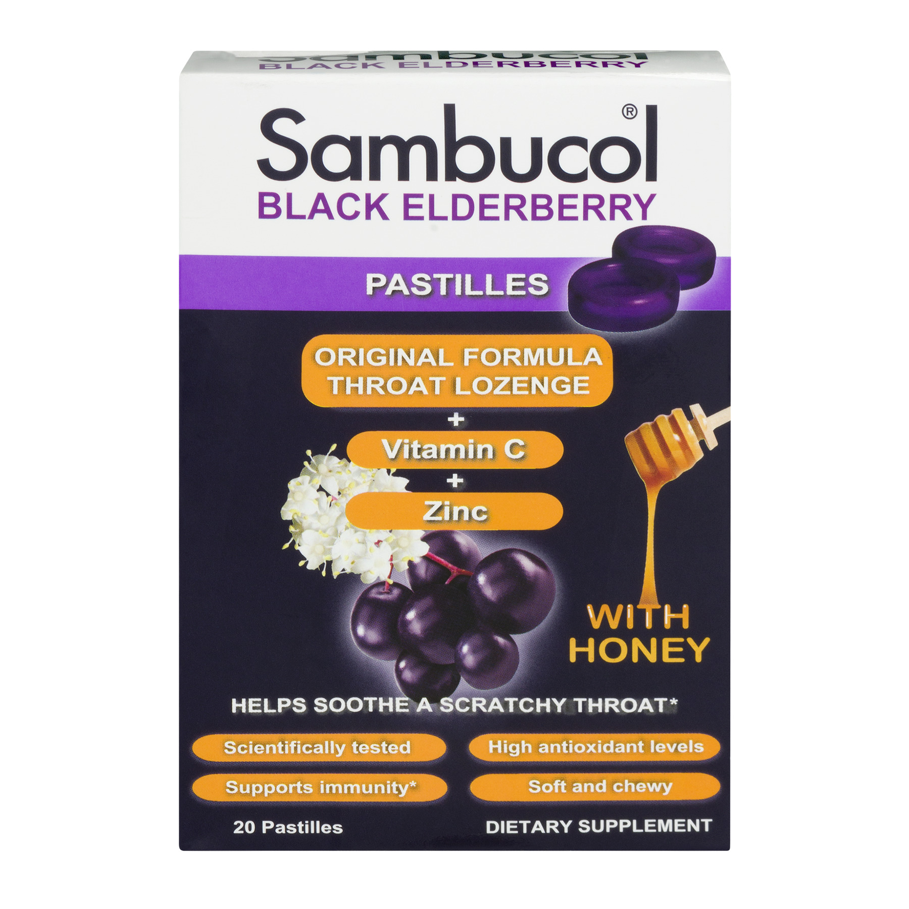 Sambucol Original Throat Lozenge + Vitamin C + Zinc Black Elderberry - 20 CT20.0 CT