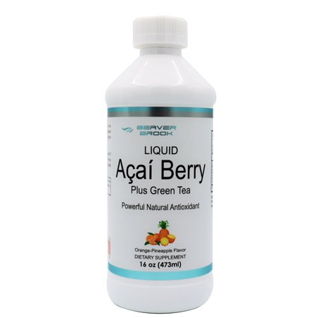 Beaver Brook Liquid Acai Berry Powder 500mg Dietary Supplement with Green Tea and Vitamin C - Orange