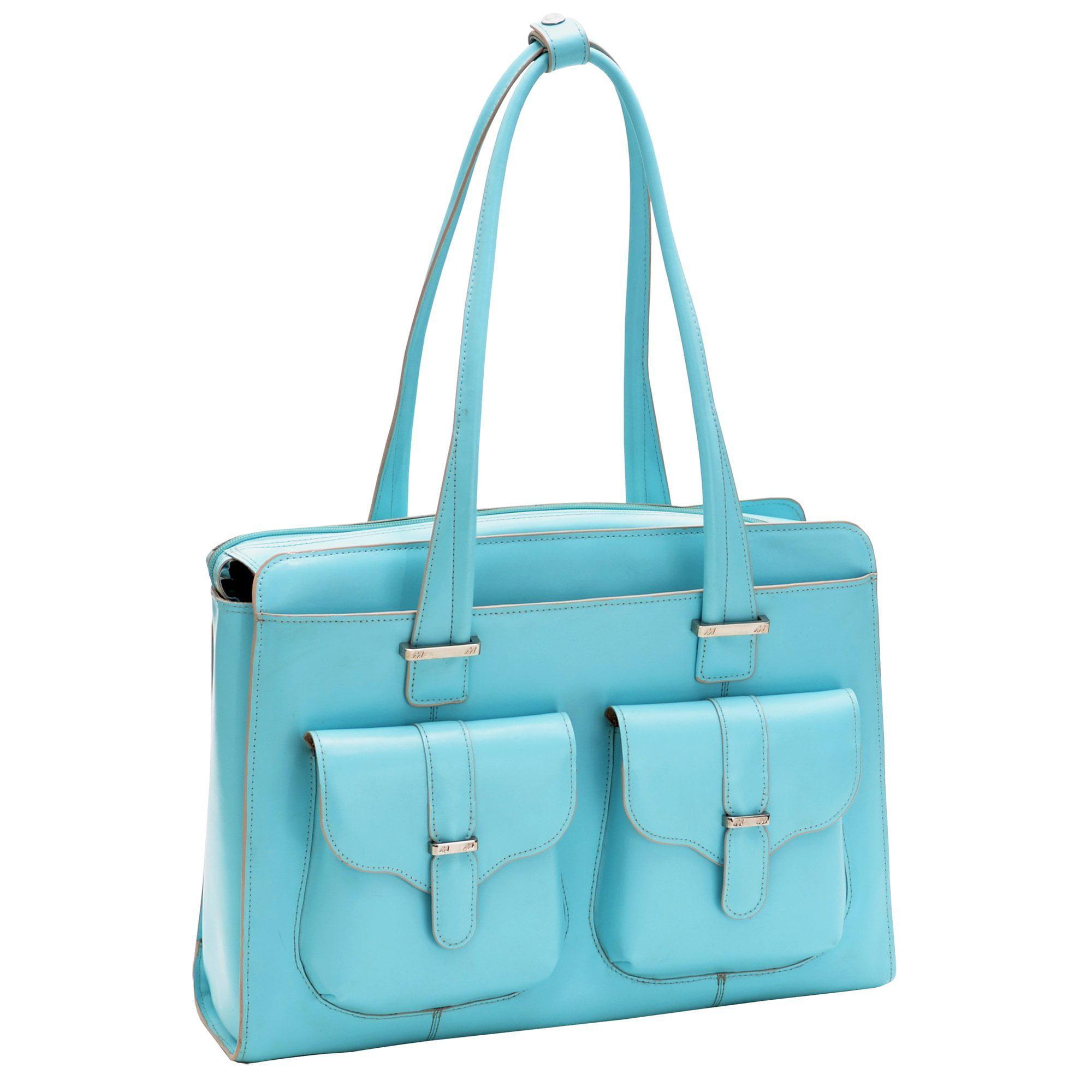 "Mckleinusa Alexis W Series 96548 Ladies' Briefcase - Briefcase - Shoulder Strap - 2 Pocket15.4"" Screen Support - Leather - Aqua Blue"