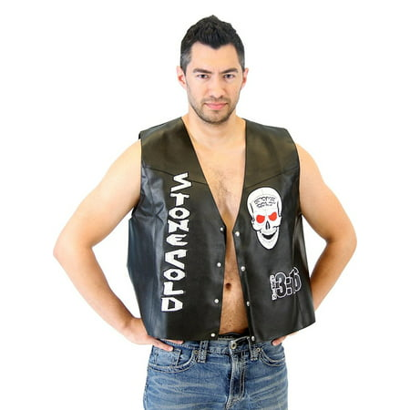 WWE Stone Cold Steve Austin 3:16 Smoking Skull Costume Leather Vest - Half Skull Costume