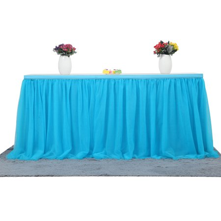 72*30 Inch Handmade Tutu Tulle Table Skirt Cloth for Party Wedding Home Decoration, Blue - Pink Tutu Table Skirt