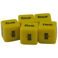 Set of 5 Educational Yellow 16mm Dice Word Numbers One to Six in Snow Organza Bag