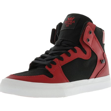 Supra Vaider Red / Black White High-Top Canvas Skateboarding Shoe - (Black Red Skate Shoe)