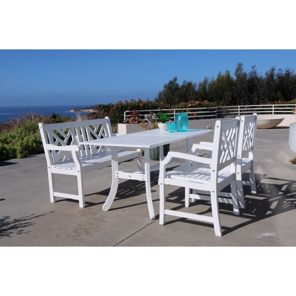 V1337SET20 Bradley Eco-friendly 4-piece Outdoor White Hardwood Dining Set