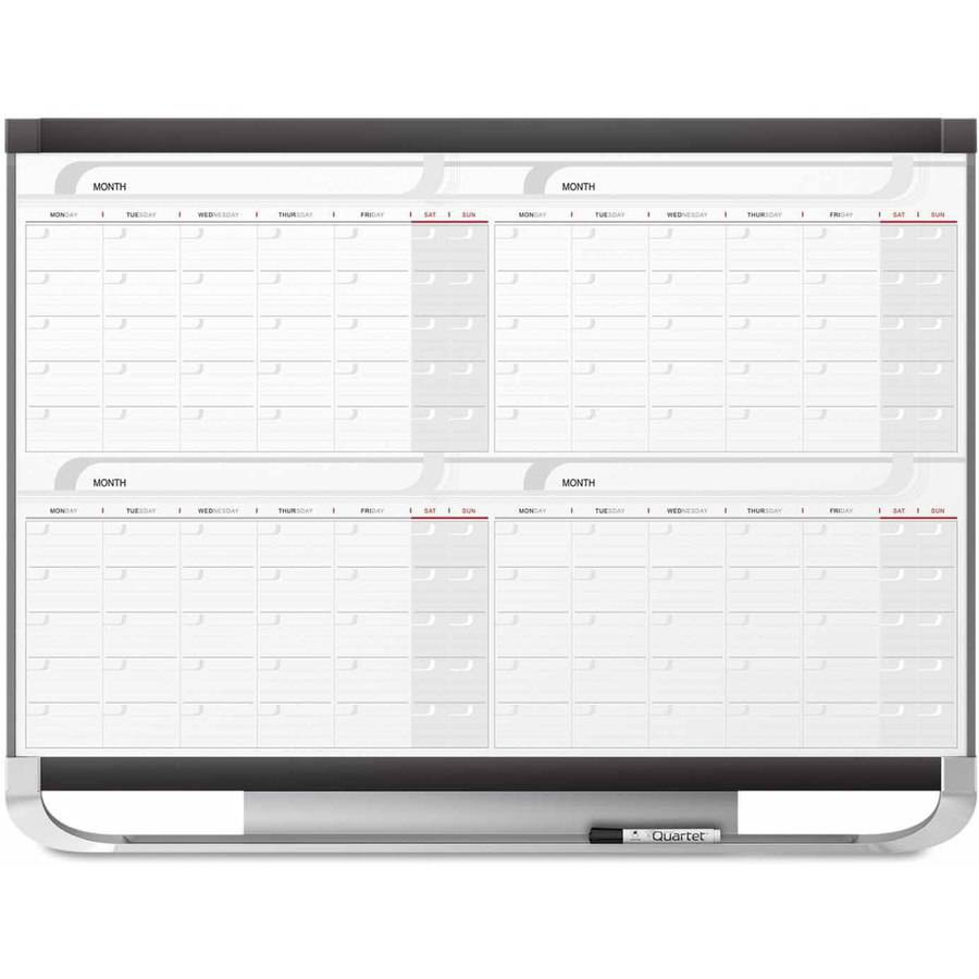 "Quartet Prestige 2 Total Erase Four-Month Calendar, 48"" x 36"", Graphite Color Frame"