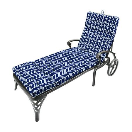 Jordan Manufacturing French Edge Outdoor Chaise Lounge Cushion - Bogatell (Jordan French Blue 7)