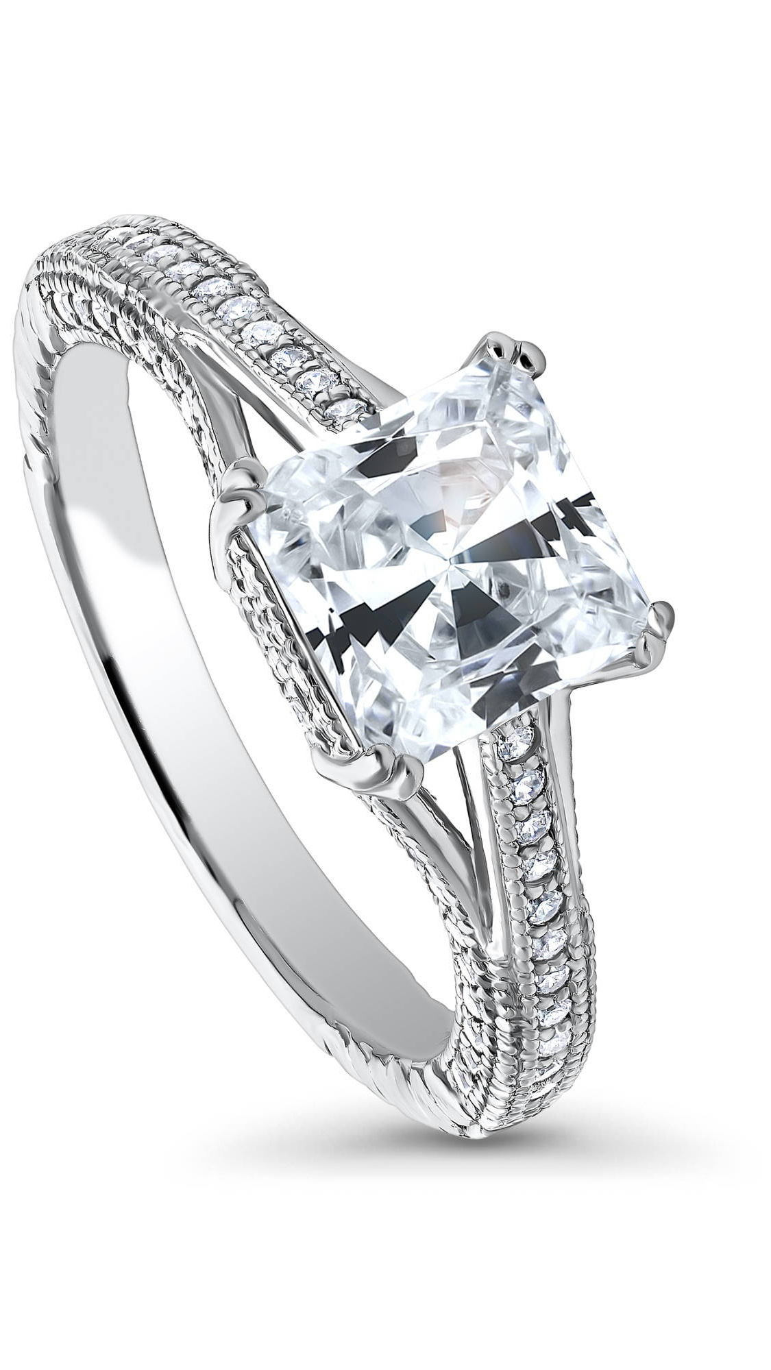 Princess Kylie Clear Cubic Zirconia Crescenet Moon and Star Ring Sterling Silver