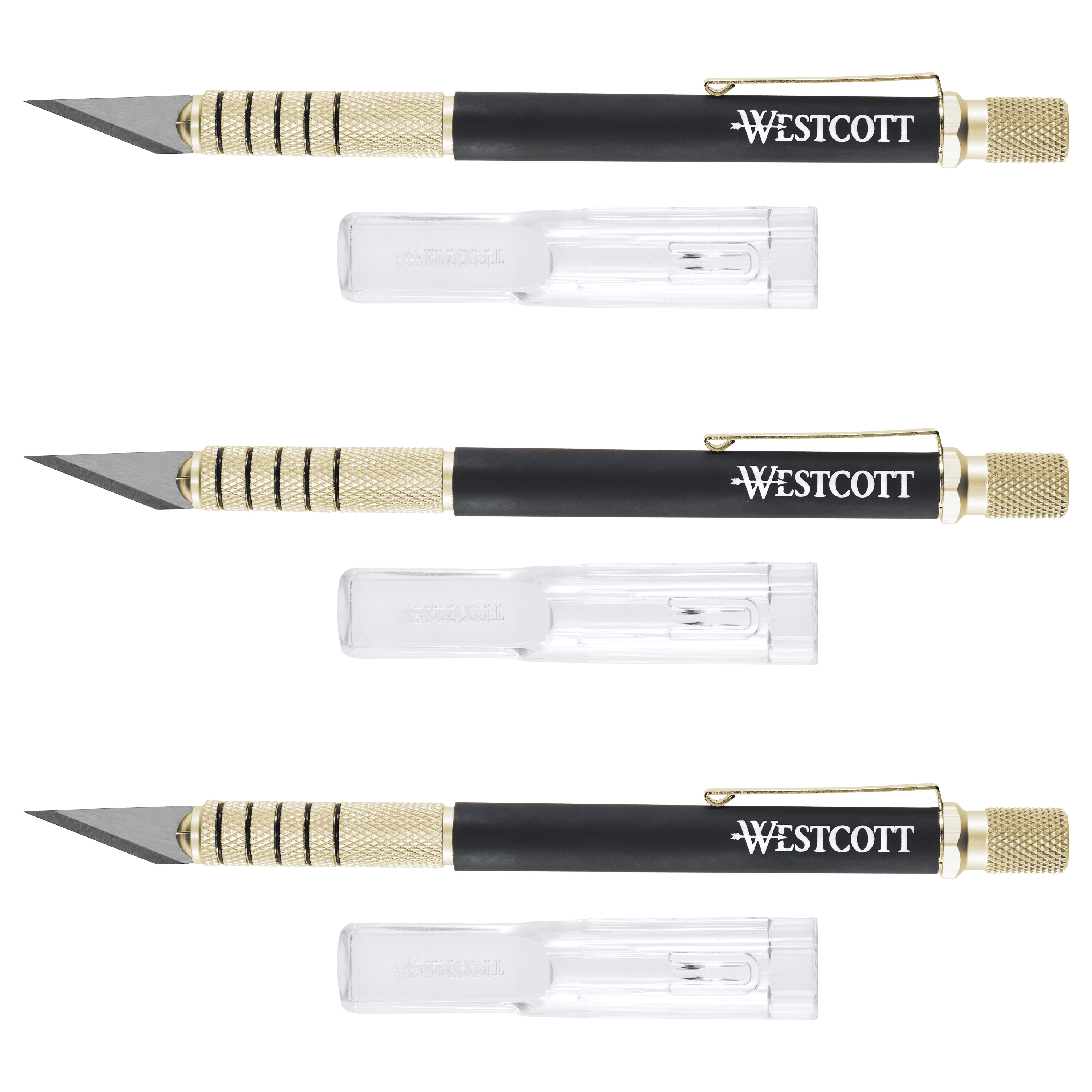 Westcott Carbotitanium Hobby Knife with Comfort Grip Handle, 3 pack gold by ACME UNITED CORPORATION