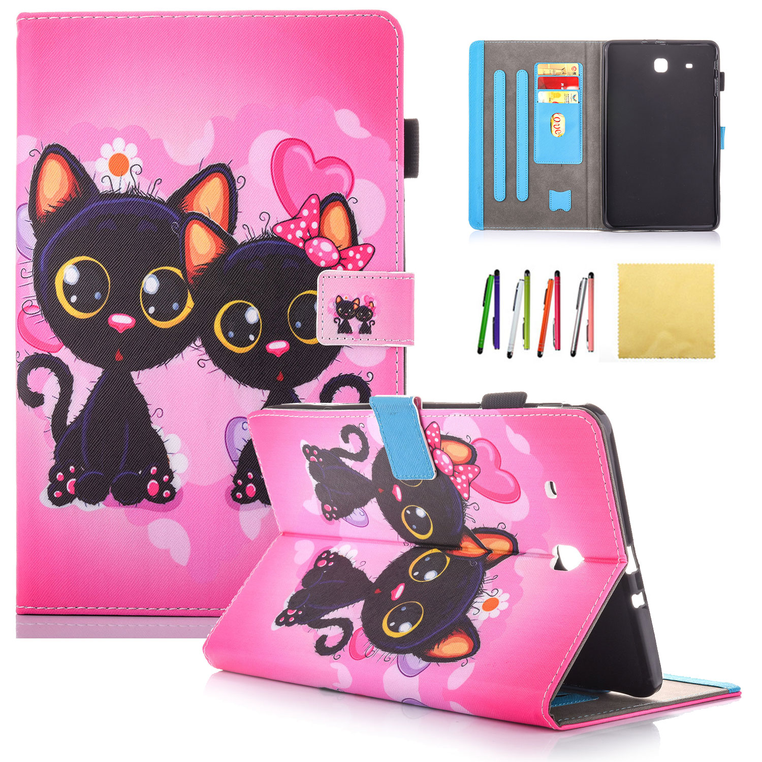 "Galaxy Tab E 9.6 Case, Allytech PU Leather Shell Stand Case for Galaxy Tab E 9.6""/ Tab E Nook 9.6-Inch Tablet (SM-T560/T561/T565 and SM-T567V Verizon 4G LTE Version)(Not Fit T560NU), Cute Cat"