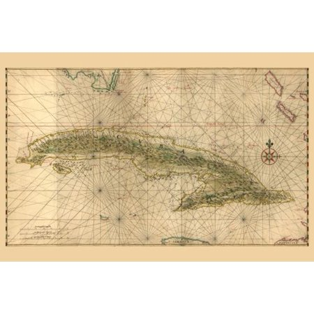 Cuba Antique Map Poster 24in x36in ()