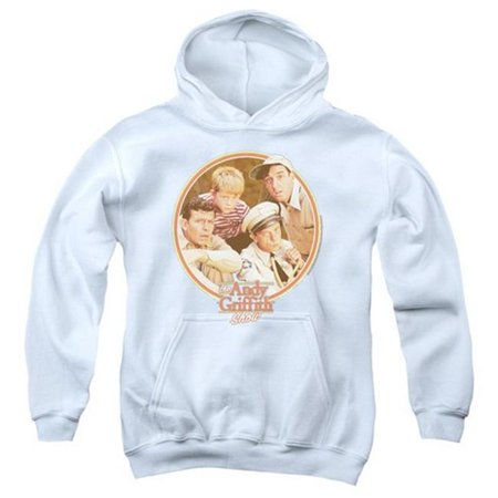 Trevco Andy Griffith-Boys Club - Youth Pull-Over Hoodie - White, Small