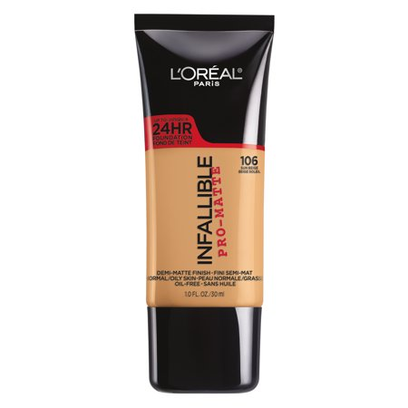 L'Oreal Paris Infallible Pro-Matte Blendable Foundation, Oil Free, 106 Sun Beige, 1 fl. oz.