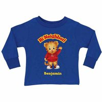 Personalized Daniel Tiger's Neighborhood Hi Neighbor Toddler Boy Royal Blue Long Sleeve Tee