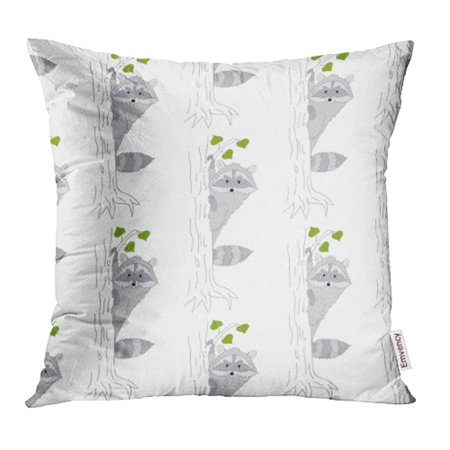 Raccoon Cartoon Animal - ARHOME Animal with Cute Cartoon Raccoon on White Baby Character Comic Coon Decorated Pillow Case Pillow Cover 18x18 inch Throw Pillow Covers