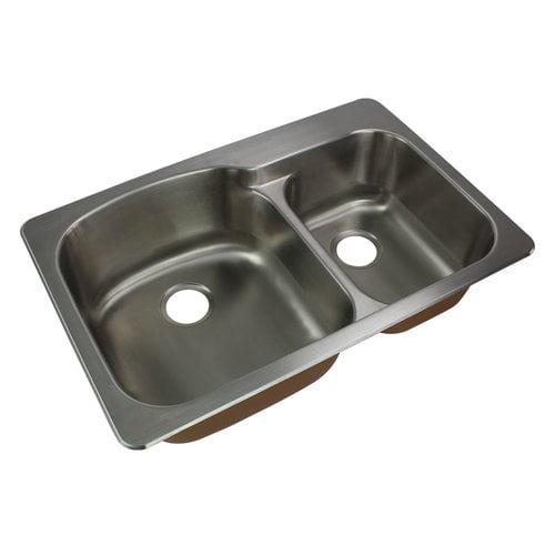 Transolid Classic 33 X 22 Double Basin Drop In Kitchen Sink Walmart Com Walmart Com