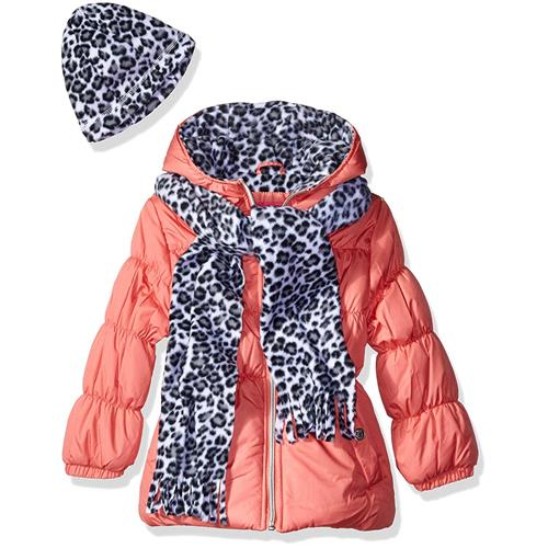 Pink Platinum Girls 2T-4T Cheetah Bubble Jacket Set