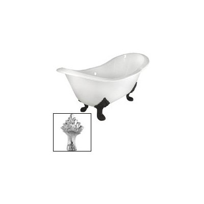 71 in. Double Slipper Cast Iron Tub Rim Faucet Holes in White with Lion Paw Feet in Polished Brass