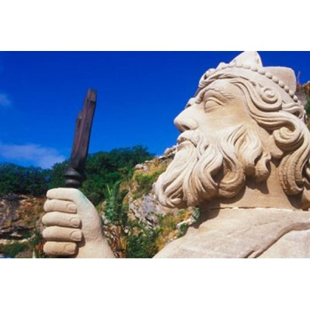 Statue of Neptune in Bermuda Maritime Museum Royal Naval Dockyard Bermuda Caribbean Canvas Art - Greg Johnston DanitaDelimont (35 x 24)