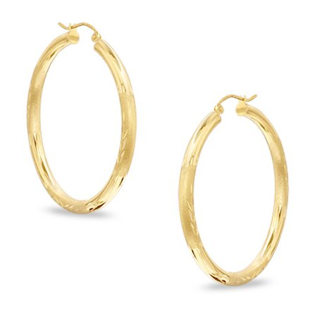 - 10k Yellow Gold Diamond Cut Design Round Shape Hoop Earrings, Diameter  15mm