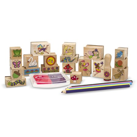 Melissa & Doug Stamp-a-Scene Stamp Pad: Fairy Garden - 20 Wooden Stamps, 5 Colored Pencils, and 2-Color Stamp (Wooden Stamp Set)